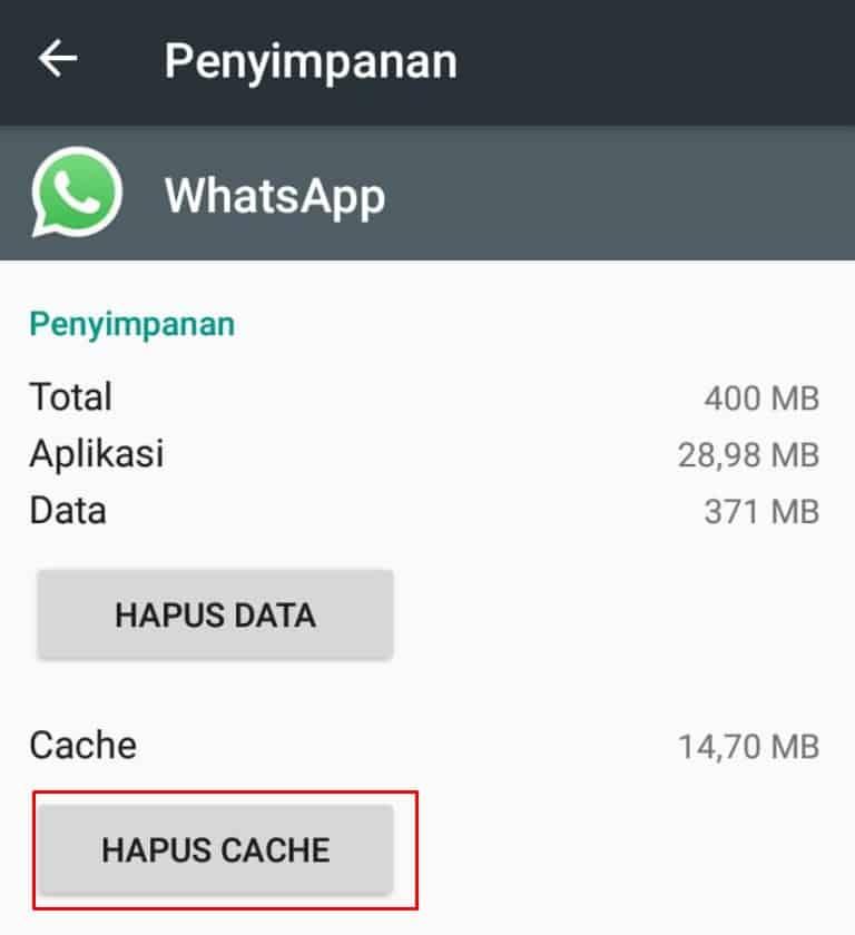Hapus cache pada WhatsApp