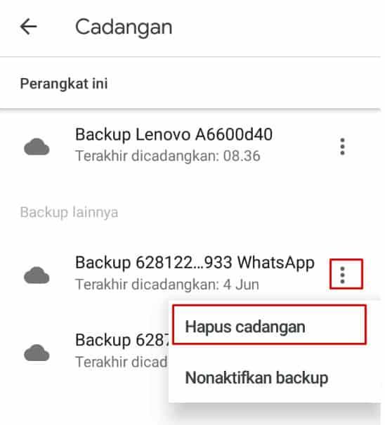 Hapus cadangan WhatsApp