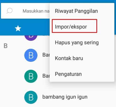 Impor dan ekspor kontak