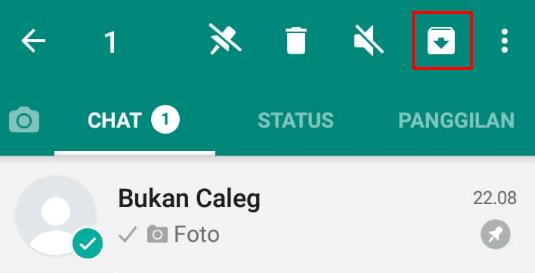 Klik icon arsipkan pada chat Whatsapp