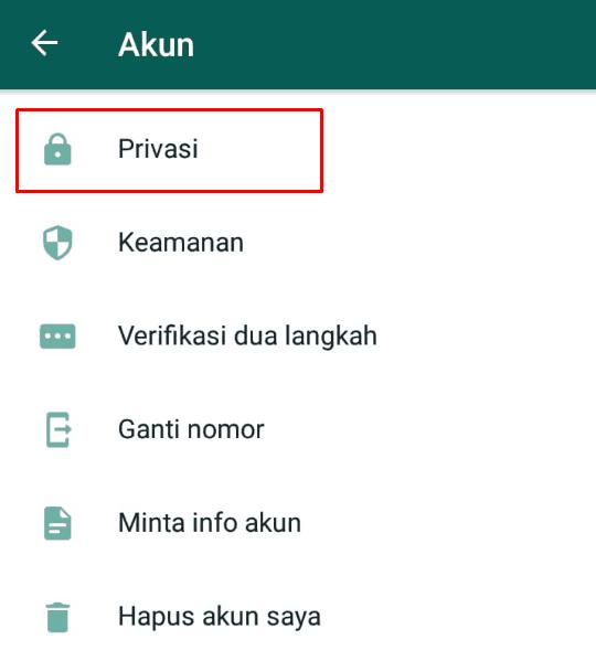 Masuk menu privasi pada WhatsApp