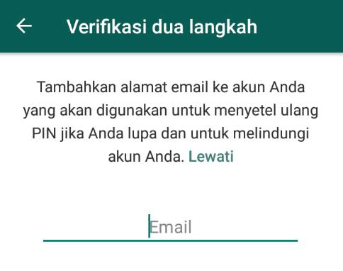 Masukkan email untuk verifikasi dua langkah pada WhatsApp