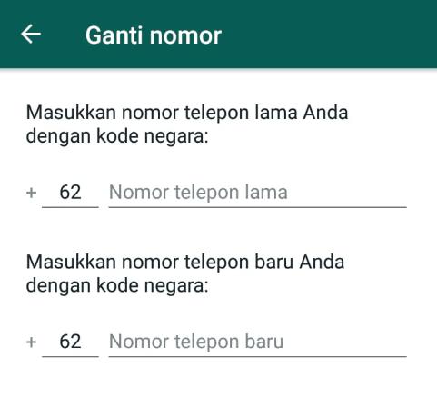 Masukkan nomor baru dan nomor lama pada ganti nomor WhatsApp