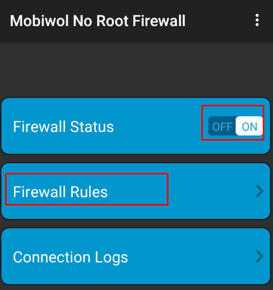 Nyalakan firewall dan klik firewall rules