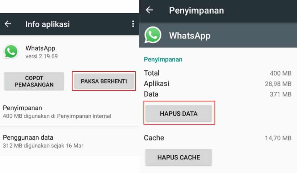 Paksa berhenti dan hapus data whatsapp