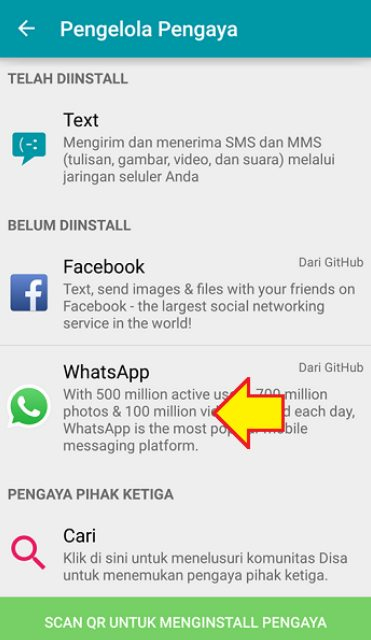 Pilih Whatsapp pada plugin manager