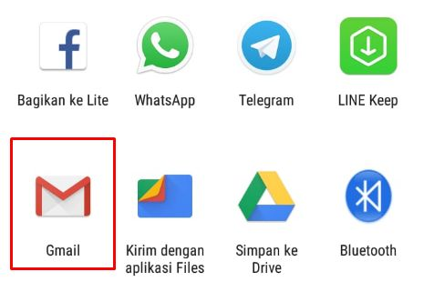 Pilih gmail untuk mengirim hasil export chat