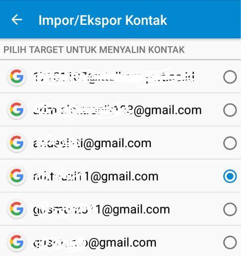 Pilih target impor kontak