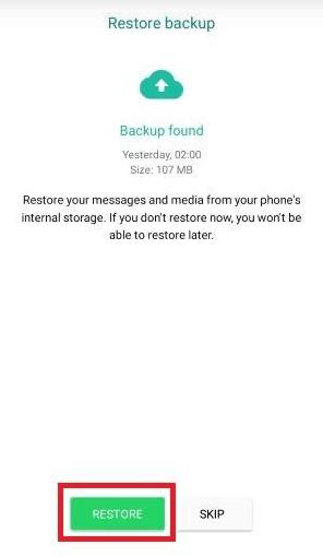 Restore file pada whatsapp