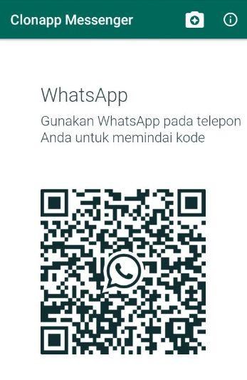 Scan barcode pada aplikasi clonapp messenger