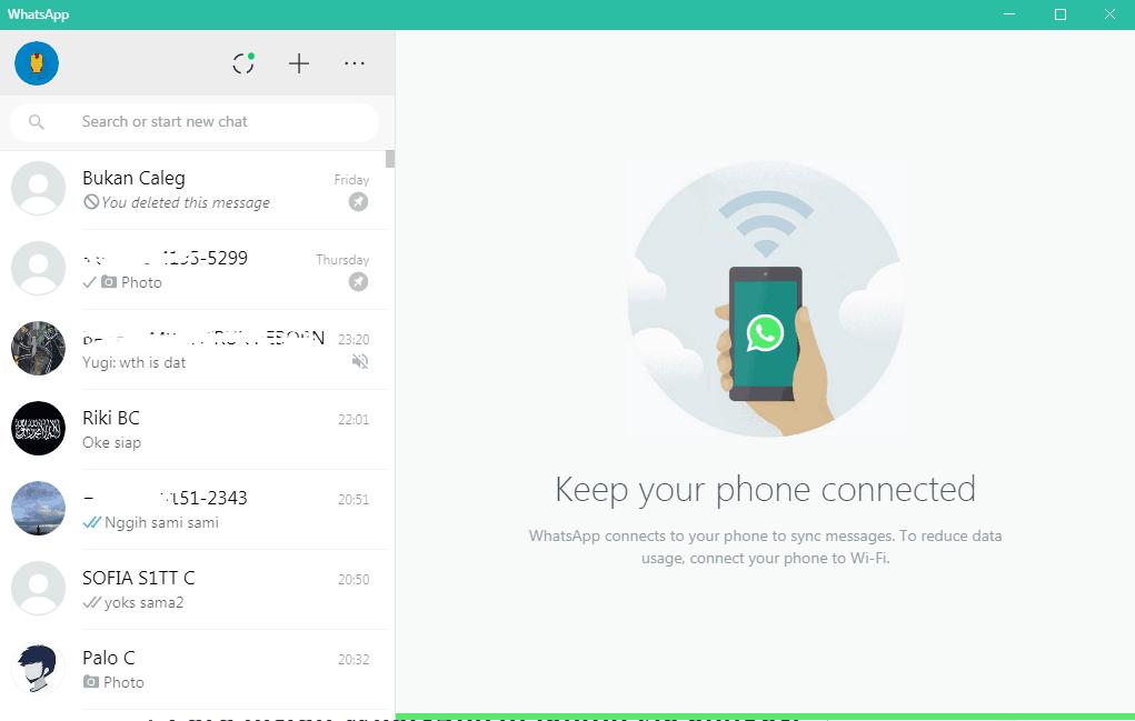 Tampilan WhatsApp untuk laptop tanpa emulator