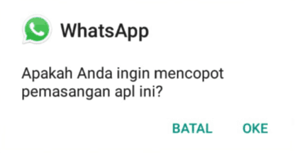 Uninstall WhatsApp yang kamu miliki