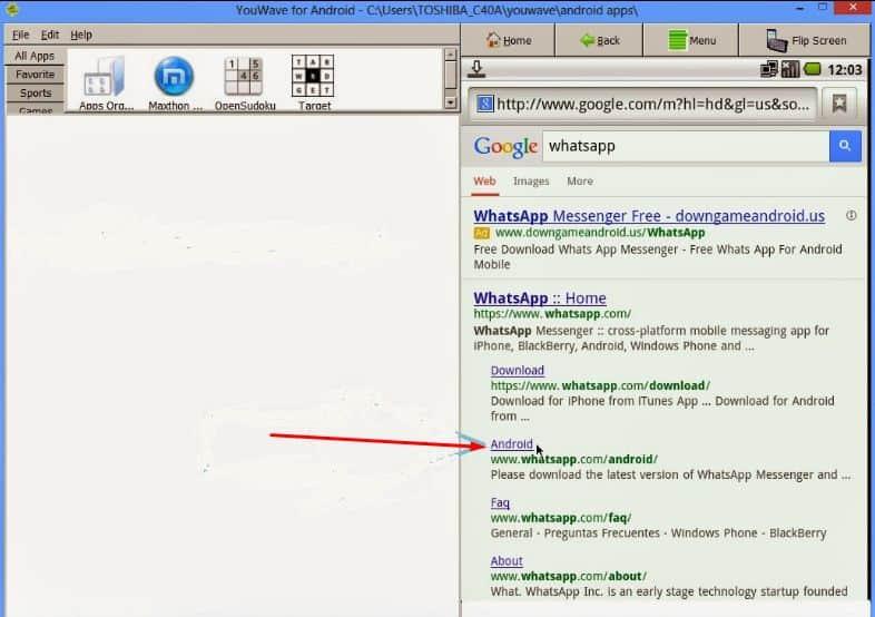 cari whatsapp pada browser youwave
