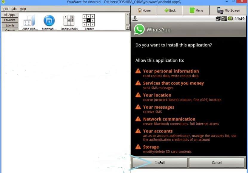 install whatsapp pada aplikasi youwave