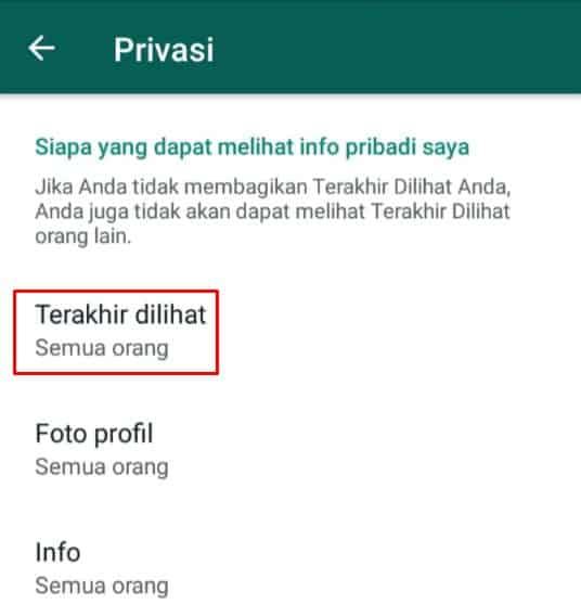 menu terakhir dilihat pada privasi WhatsApp