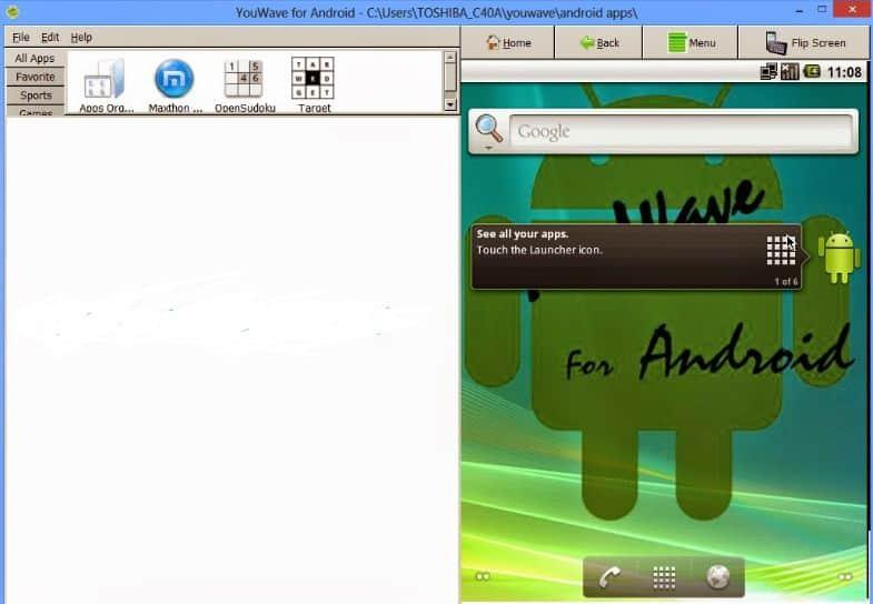 tampilan awal aplikasi youwave untuk whatsapp di laptop