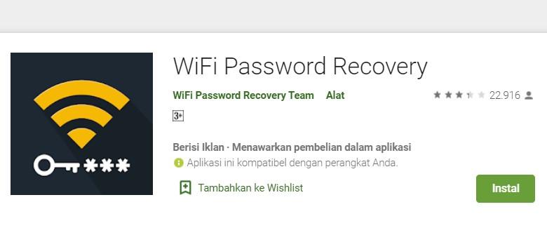 Cara ke-1 Via WiFi Password Recovery