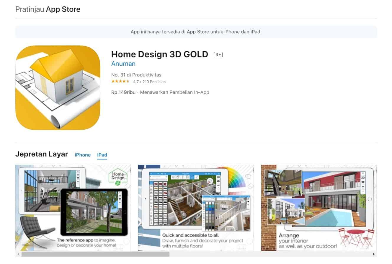 Aplikasi Home Design 3D Gold