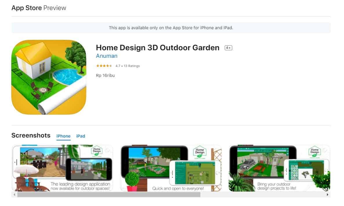 Aplikasi Home Design 3D Outdoor Garden