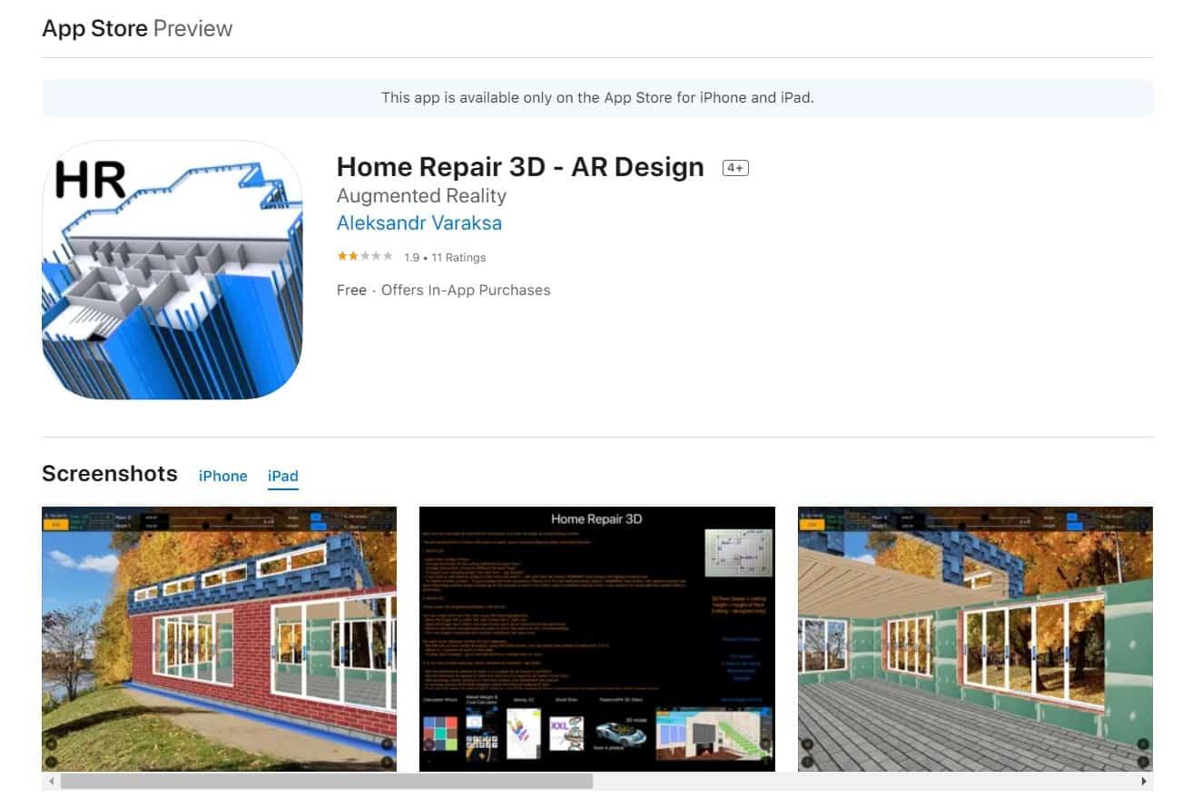 Aplikasi Home Repair 3D Free - Augmented Reality Design