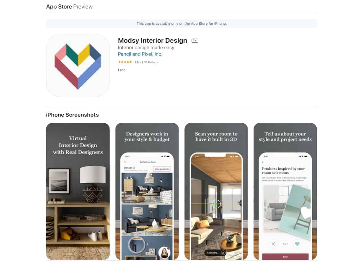 Aplikasi Modsy Interior Design